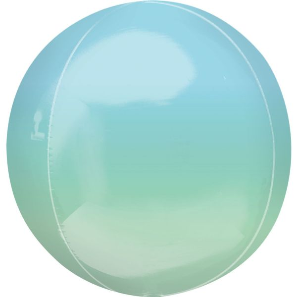 Ombre Blue & Green Round Orbz 15in Balloon